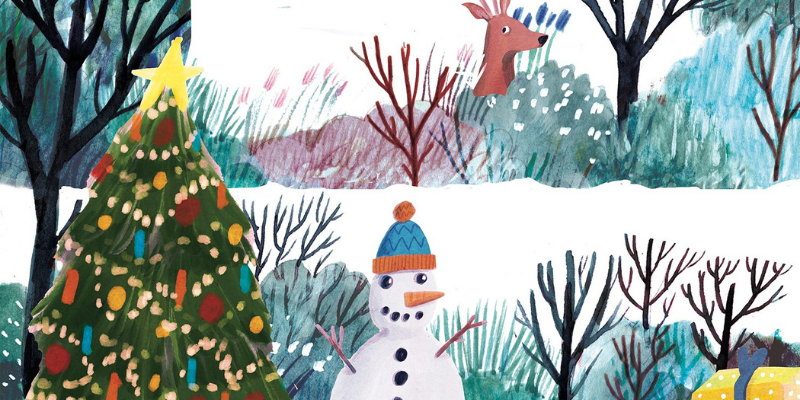 Snowman and Christmas scene